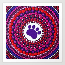 Mandala cat paw  Art Print