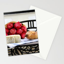 French Baguette and Cheese on a Paris Balcony Stationery Cards
