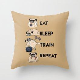 Eat Sleep Train Repeat Throw Pillow