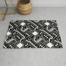 Printed Circuit Board - White on Black Rug