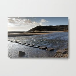 Three Cliffs Bay stepping stones Metal Print