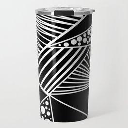 Black white geometric trendy artistic stripes polka dots Travel Mug