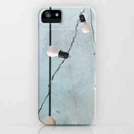 String Lights Industrial Chic Low Tech Wires and Light Bulbs Minimalist iPhone Case