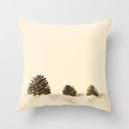 Three Pine Cones (Retro and Vintage Photography)  Throw Pillow