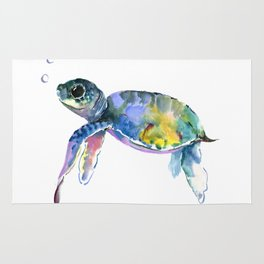 Sea Turtle Illustration Rug