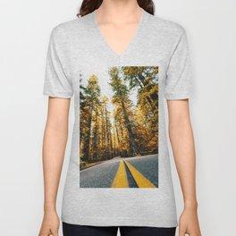 autumn road in california Unisex V-Neck