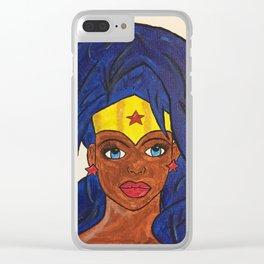 Melanin WonderWoman Clear iPhone Case