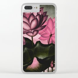 Mauve Pink Sacred Egyptian Bean Temple of Flora Clear iPhone Case