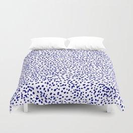 Vonnie - abstract minimal indigo blue dalmatian dots brushstrokes animal print monochromatic print Duvet Cover