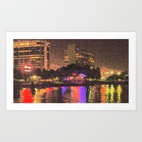 Frontage Road at Night - Emeryville, CA Art Print
