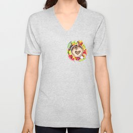 Fall and cup of coffee Unisex V-Neck