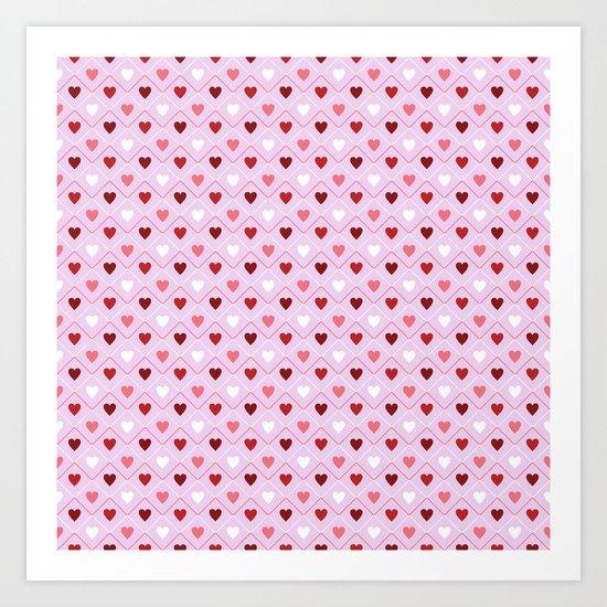 Valentines - Pink Heart Pattern Art Print