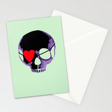Purple skull with heart eyepatch Stationery Cards