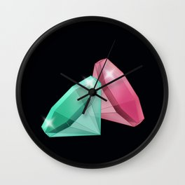 Precious red and green stones . Wall Clock