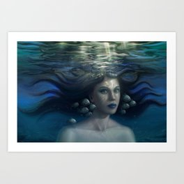 Underwater Girl #1 Art Print