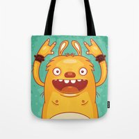 punk rock Tote Bags featuring Punk Rock Monster by Real illusion
