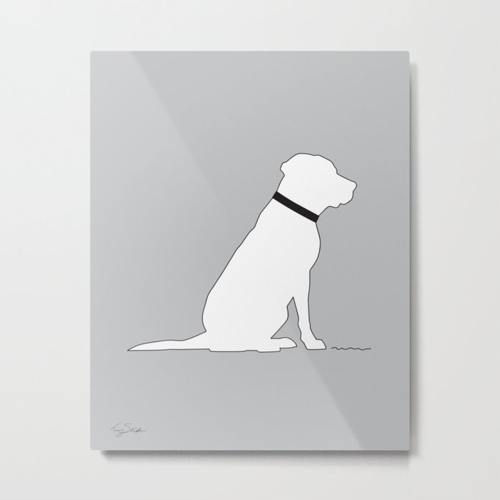 Modern Lab Silhouette Black and White Metal Print