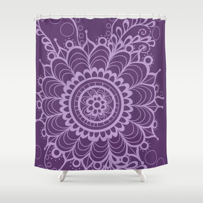 Lavender Dreams Flower Medallion - Medium with Light Outline Shower Curtain