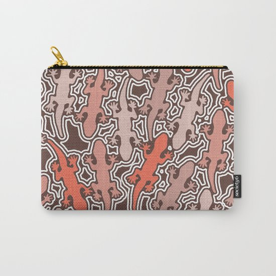 Lizards in apricot and coral orange Carry-All Pouch