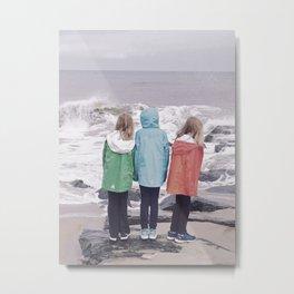 Three Girls And The Ocean Metal Print