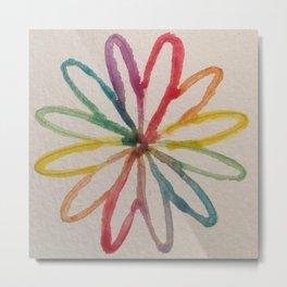 Spirograph Rainbow flower Metal Print
