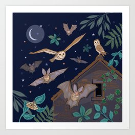 Bats Over The Barn Art Print