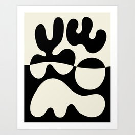 Mid Century Modern Organic Abstraction 235 Black and Linen Art Print