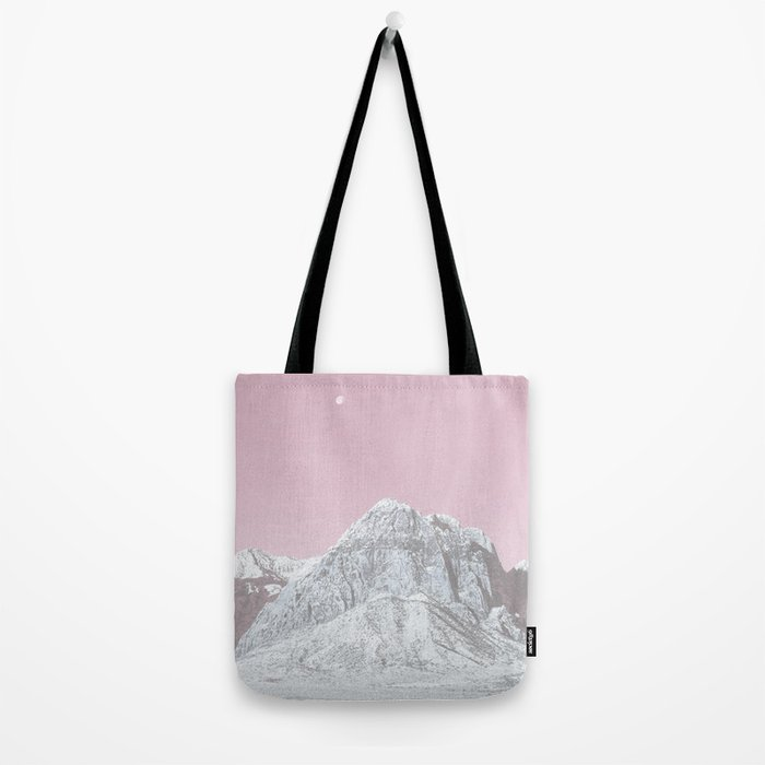 Mojave Pink Sky // Red Rock Canyon Las Vegas Desert Landscape Snowstorm Moon Mountains Tote Bag