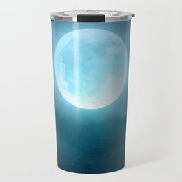 Realistic full moon on night sky with clouds Travel Mug