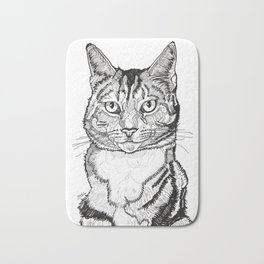 Cat line drawing portrait black and white illustration Bath Mat