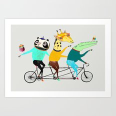 Animals biking. bike art, bike decor, bikes. Art Print