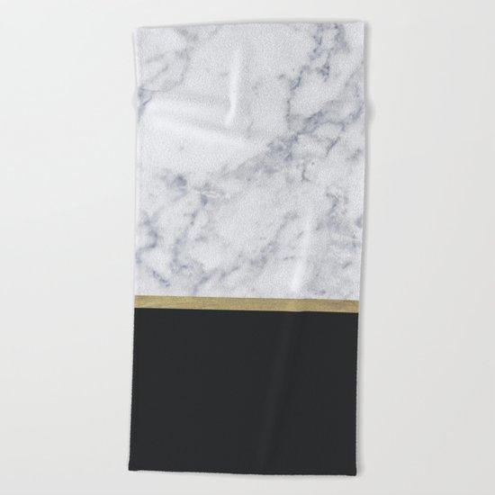MARBLE GOLD BLACK  Beach Towel
