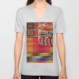 V27 Multi Colored Traditional Moroccan Lovely Textile Texture. Unisex V-Neck