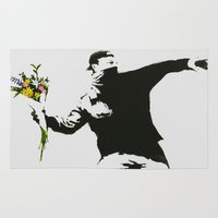 banksy Area & Throw Rugs featuring BANKSY FLOWER THROWER GRAFFITI STREET ART  by StevesPosterStore