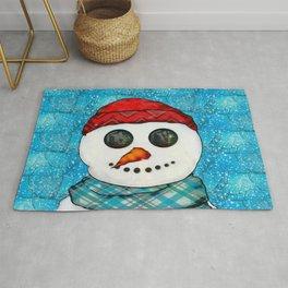 Reflections Christmas Snowman Folk Art Rug