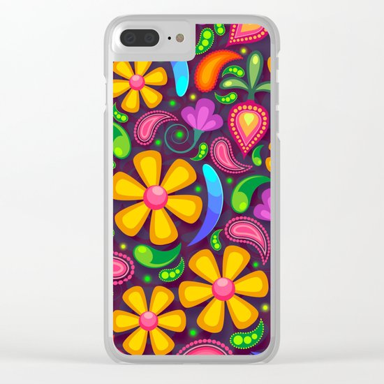 Brightly Colored Yellow Floral Pattern Clear iPhone Case