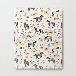 Horses and Flowers, Sunrise Floral, Cream, Horse Print, Horse Illustration, Pink and Yellow, Equestrian, Little Girls Metal Print