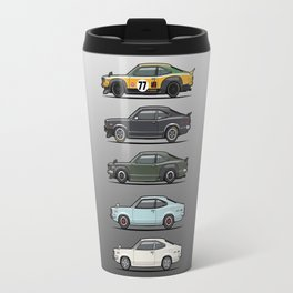 Stack of Mazda Savanna GT RX-3 Coupes Travel Mug