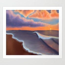 Lavender Beach Sunset Art Print