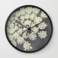 sublime Wall Clocks featuring Black and White Queen Annes Lace by Erin Johnson