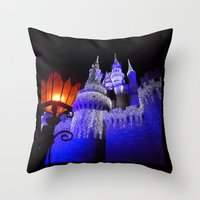 spires Throw Pillows featuring Blue Spires by Dragons Laire