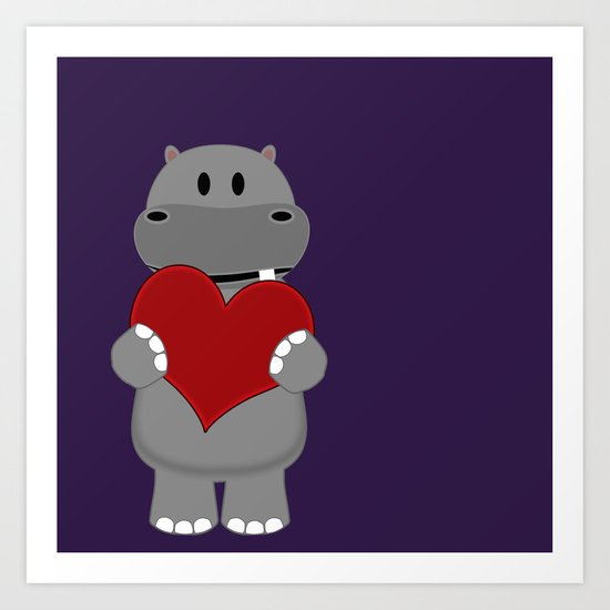 A Hippo with Heart Art Print