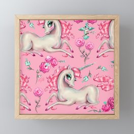 Unicorns and Roses on Pink Framed Mini Art Print
