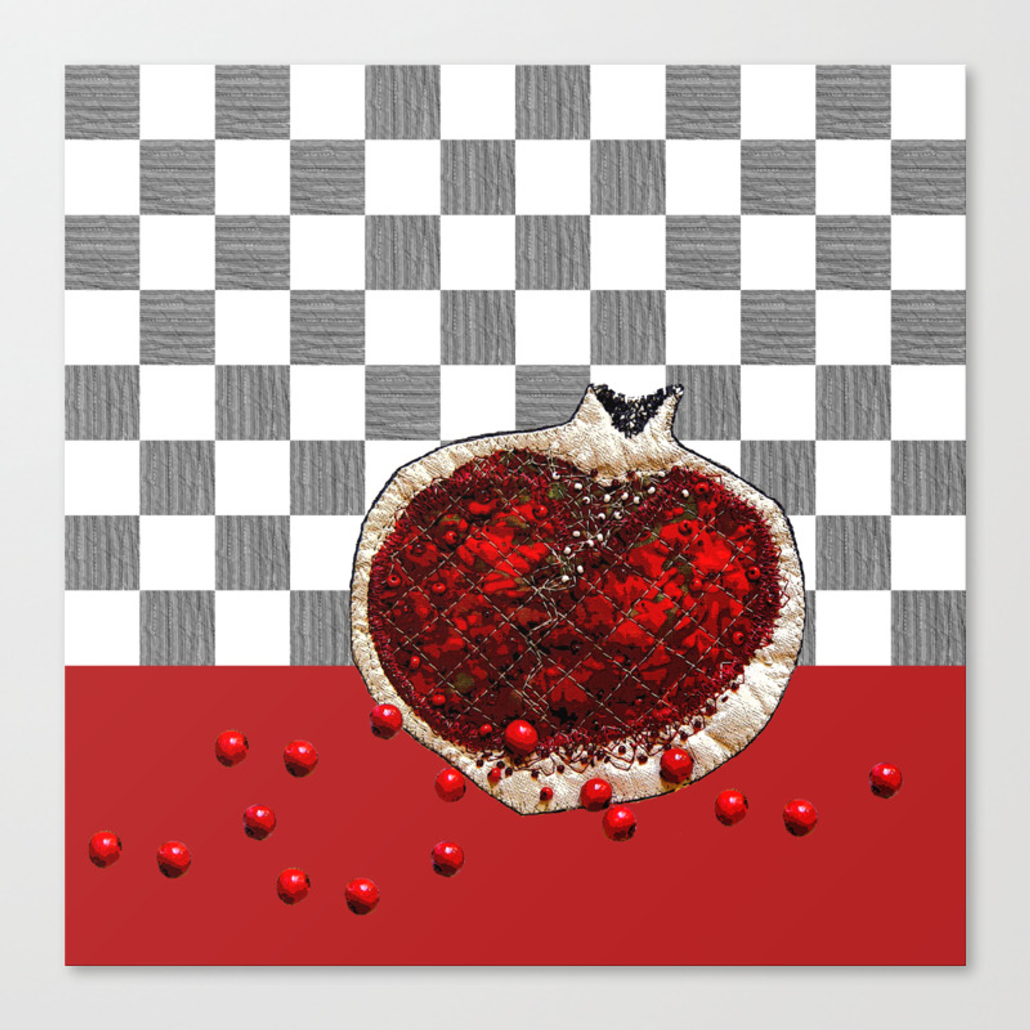 Bloody Kitchen Decor Pomegranate Canvas Print