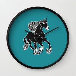 Black & White Horse with Teal Wall Clock