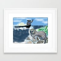 otters Framed Art Prints featuring Otters Love by Gaby Kasan