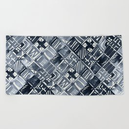 Simply Tribal Tiles in Indigo Blue on Lunar Gray Beach Towel
