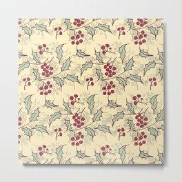 Holly berry Christmas pattern design Metal Print