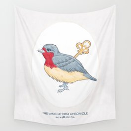 Haruki Murakami's The Wind-Up Bird Chronicle // Illustration of a Bird with a Wind-up Key in Pencil Wall Tapestry