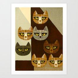 Cat Pattern Japanese, Cat, Cubism, Woodblock Print, Cherry Blossom, Midcentury, Modern Art Print